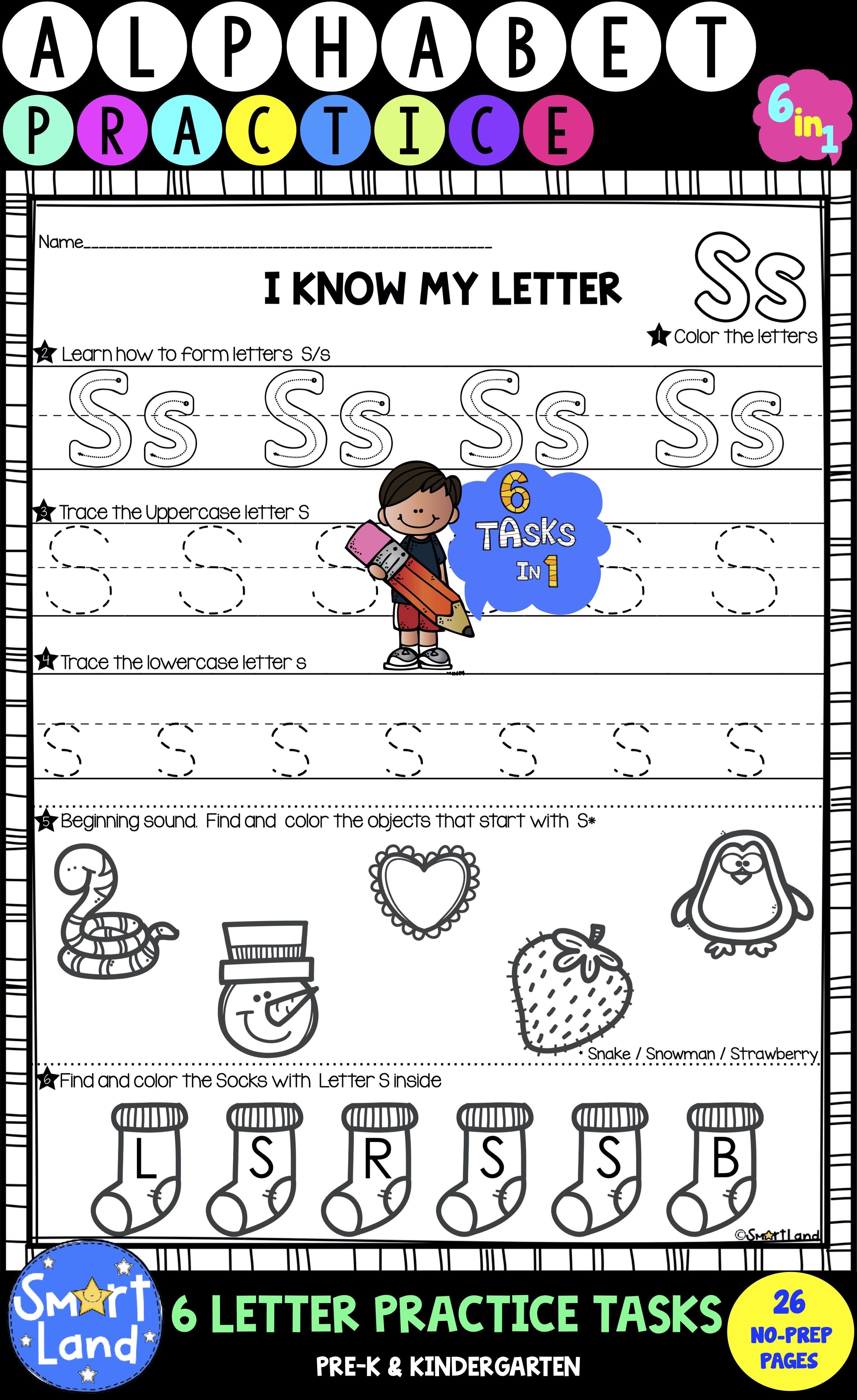 New 6in1 Set Of Alphabet Practice Pages Each Focusing On