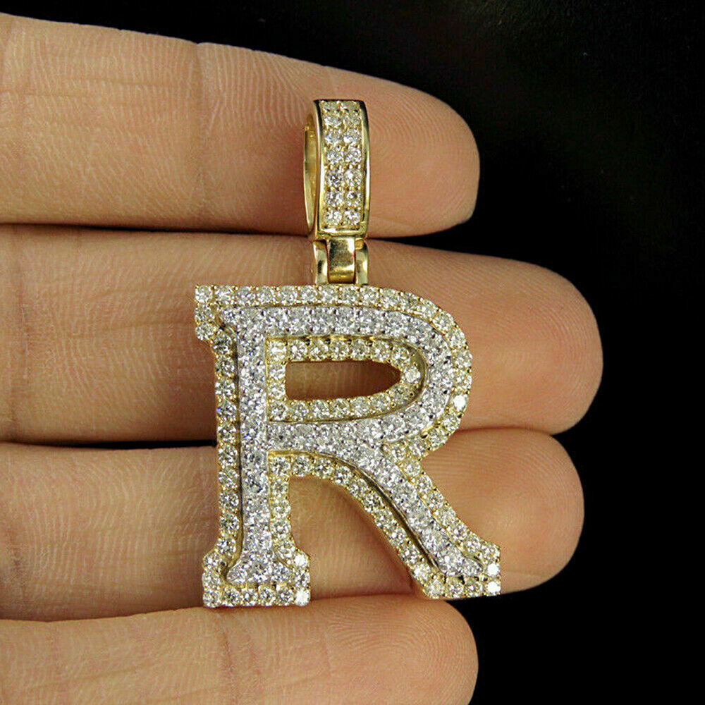 A-Z Letters Necklace Colored Diamond Pendants Women Fashion Gift Jewelry