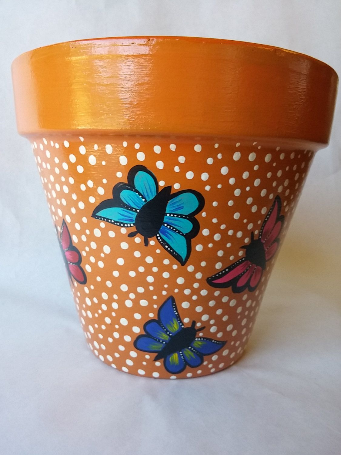 Pottery Hand Painted Pot Butterfly Clay Pot Butterfly Painted