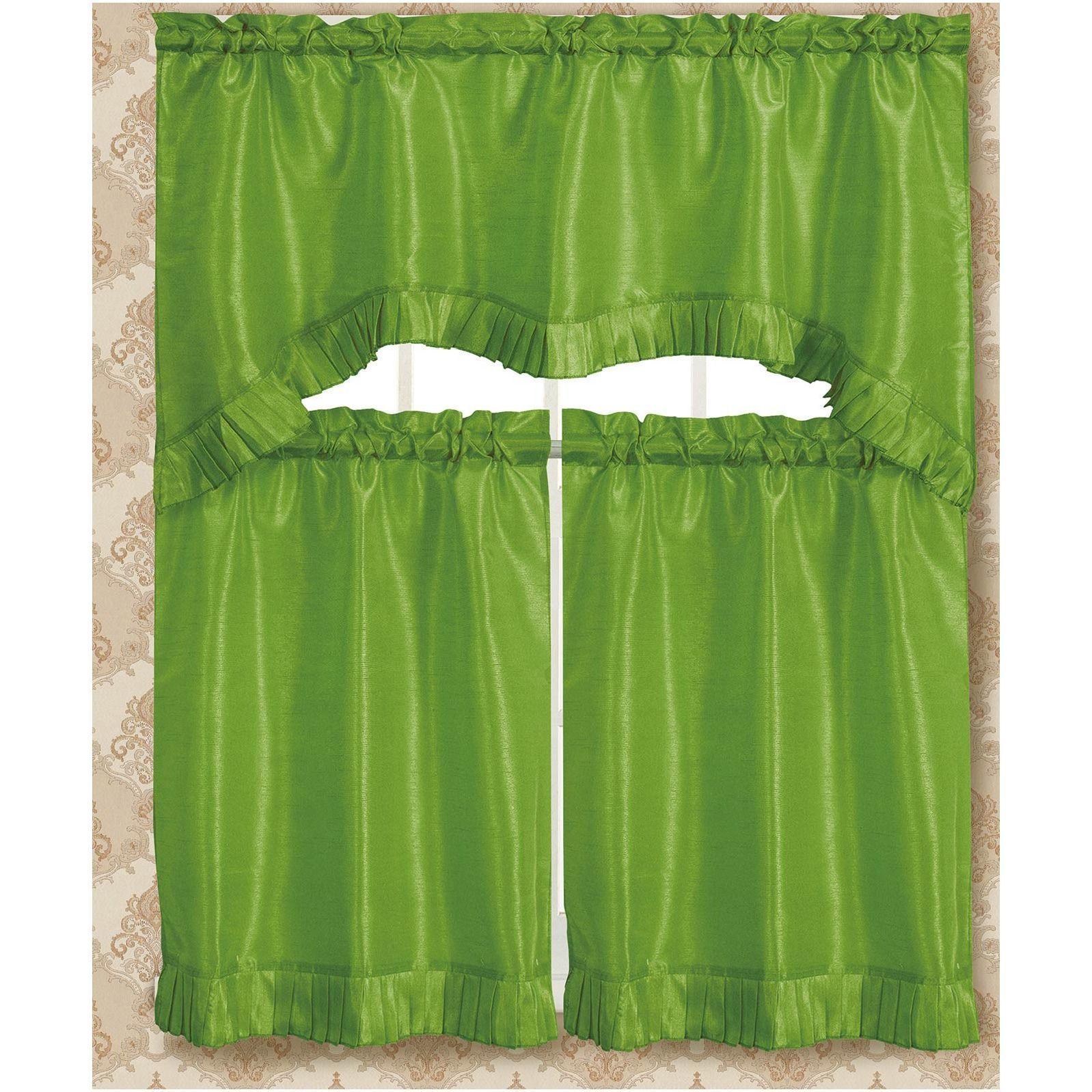 RT Designers Collection Bermuda Ruffle Kitchen Curtain Tier ...