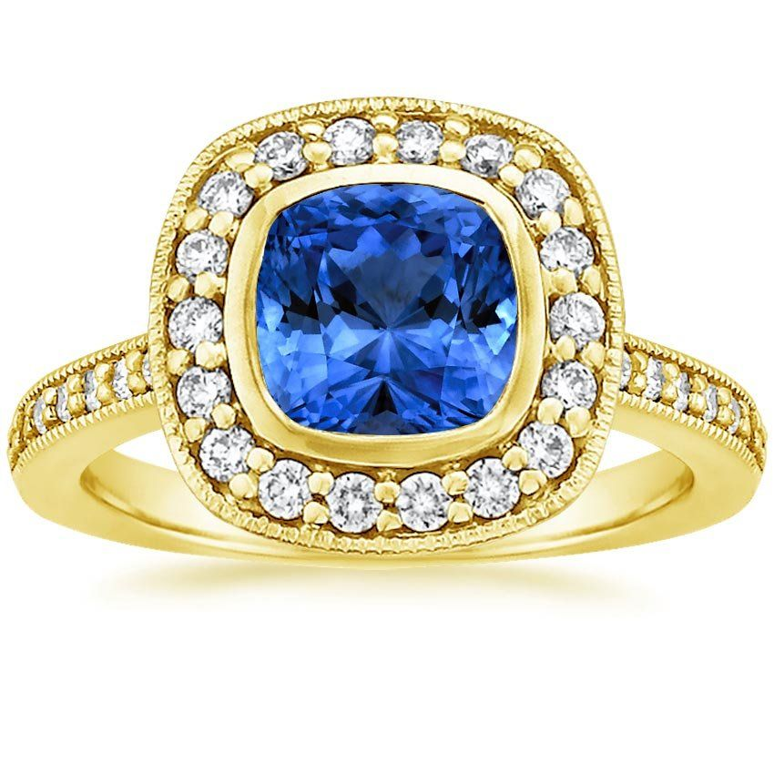 Blue Sapphire Fancy Bezel Halo Engagement Ring with Side Stones - 18K Yellow Gold