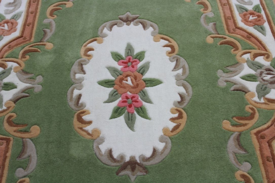 Green Chinese Aubusson Design Hand Tufted 100 Acrylic Rug Now Half Price