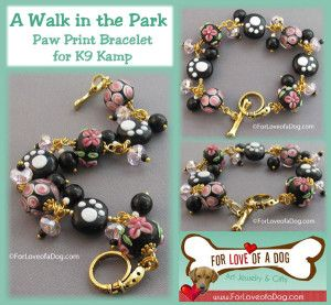 Enter to win A Walk in the Park Paw Print Bracelet from ForLoveofaDog.com in the K9 Kamp celebration of dog fitness!