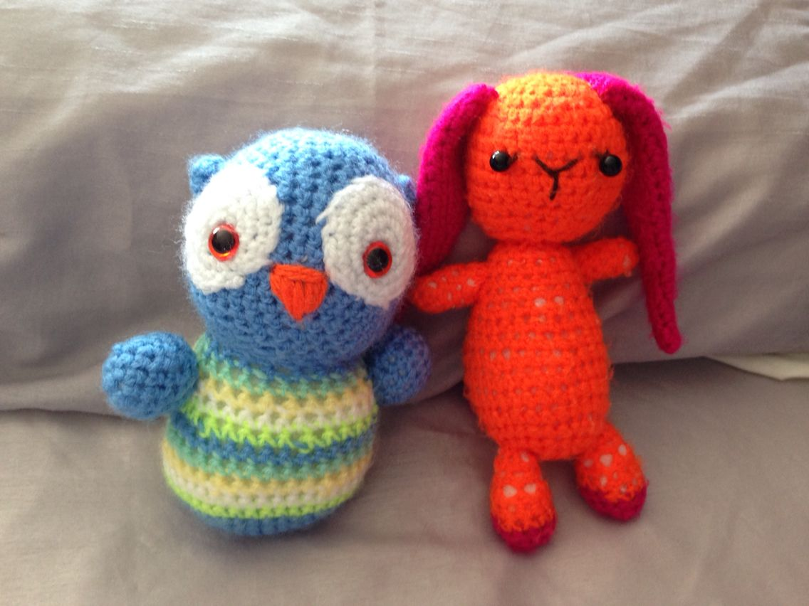 Owl & rabbit (rabbit is starting to look \'loved\'!) http://www ...