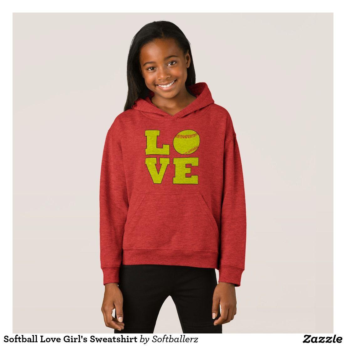 Softball Love Girl's Sweatshirt #softball #sweatshirt #hoodie #softballsweatshirt #softballhoodie #softballapparel