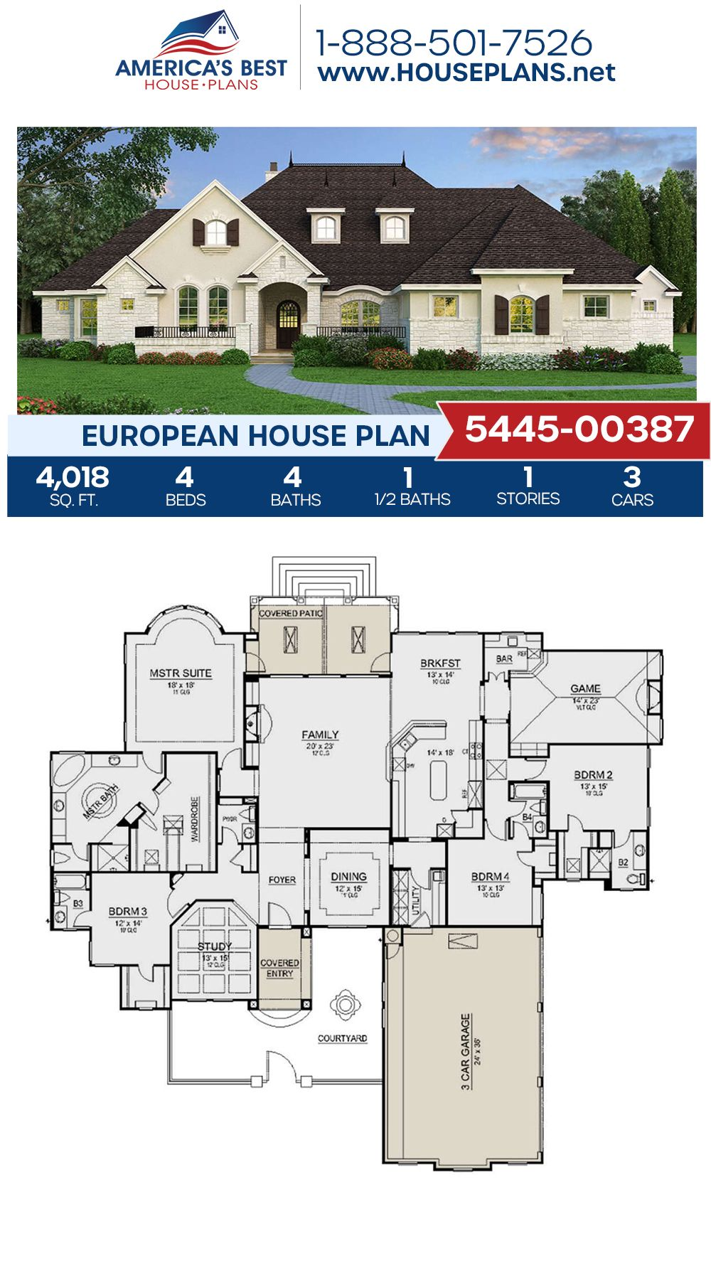 House Plan 5445 00387 European Plan 4 018 Square Feet 4 Bedrooms 4 5 Bathrooms In 2020 Craftsman House Plans European House Dream House Plans