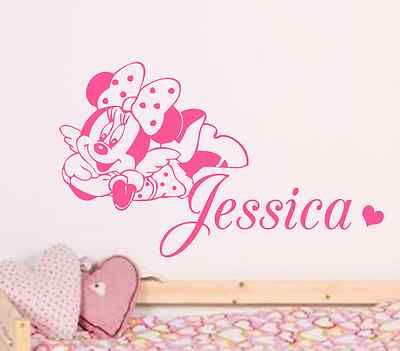 MINNIE MOUSE PERSONALISE DISNEY WALL STICKER/DECAL CHILDREN/KIDS NURSERY  BEDROOM