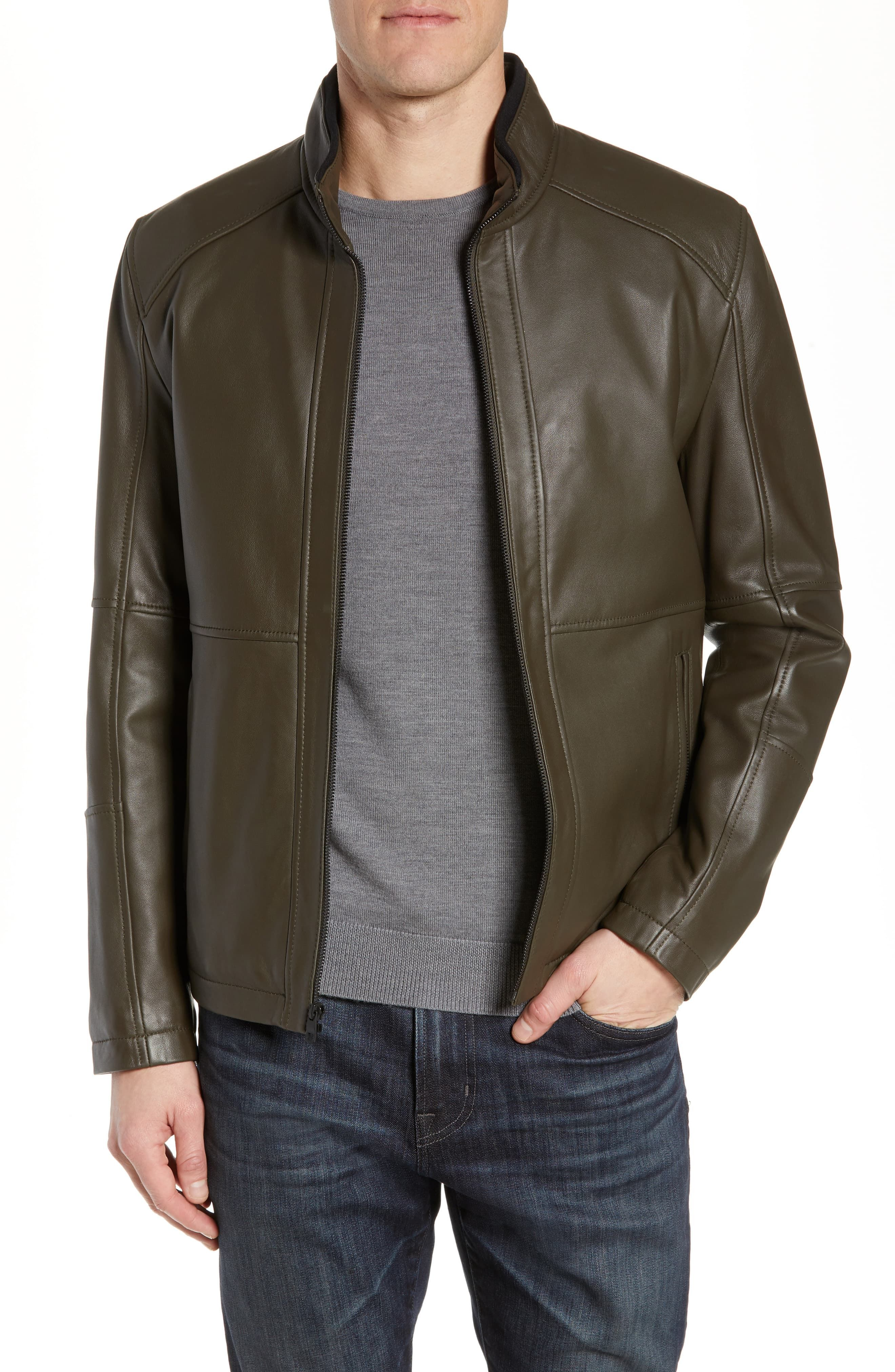 Marc New York by Andrew Marc Felix Stand Collar Leather