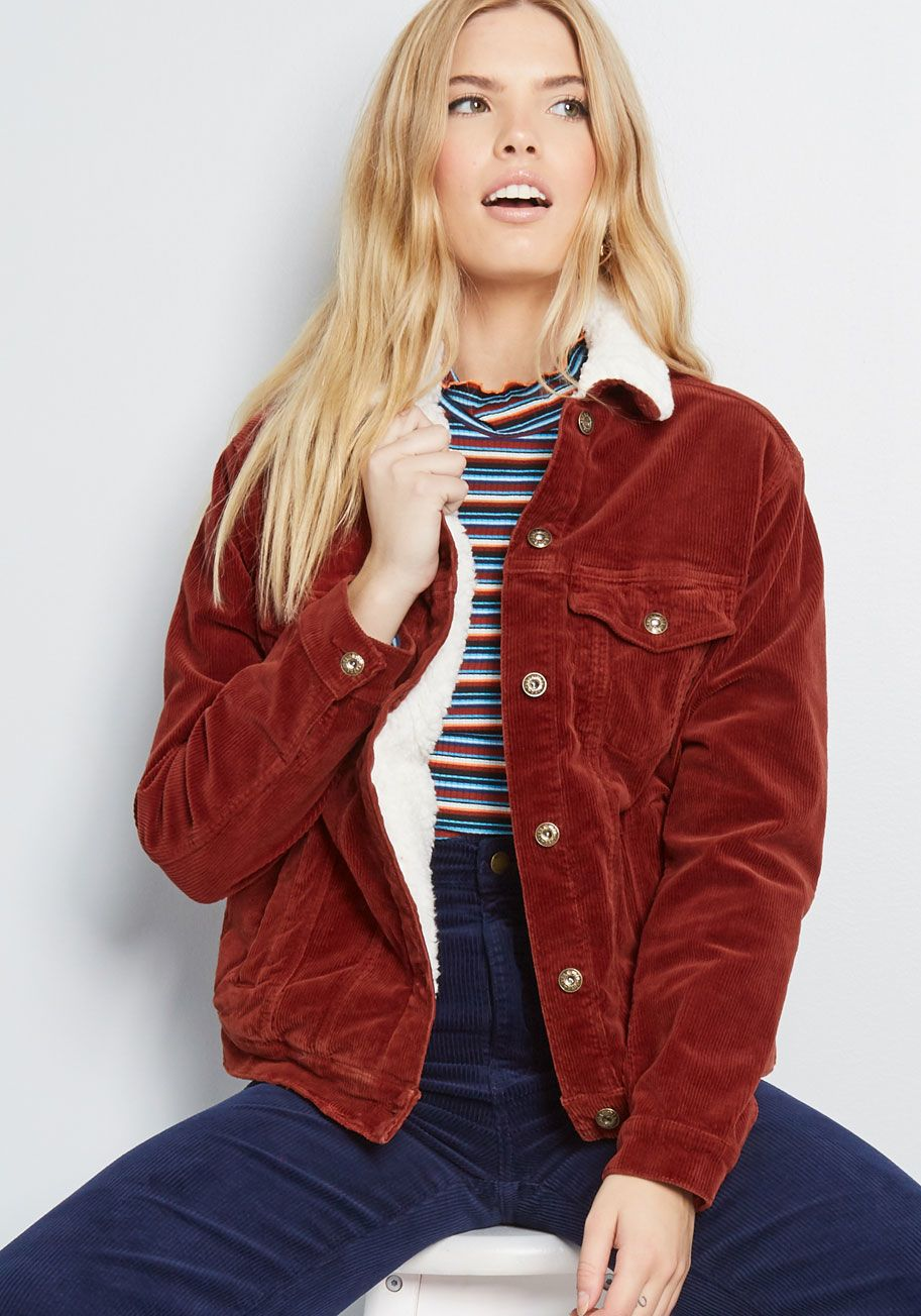 Timely Travel Corduroy Jacket | Red outerwear, Red jacket