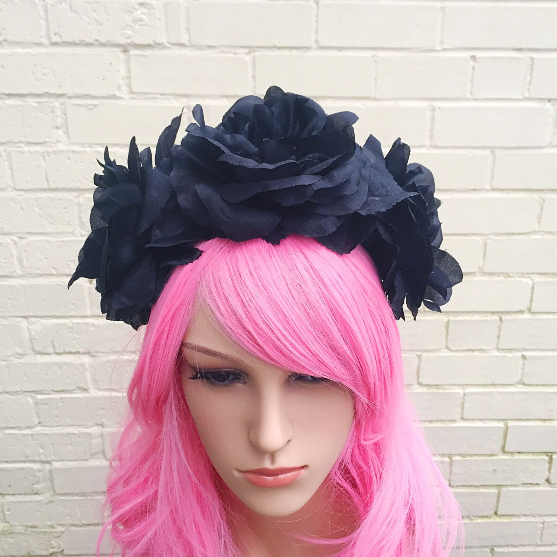 Goth Headband Goth Flower Crown Black Flower Crown Black Hair