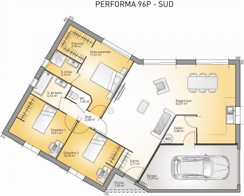 Plan maison neuve à construire - Maisons France Confort Performa 96 - plan de maison de 100m2 plein pied
