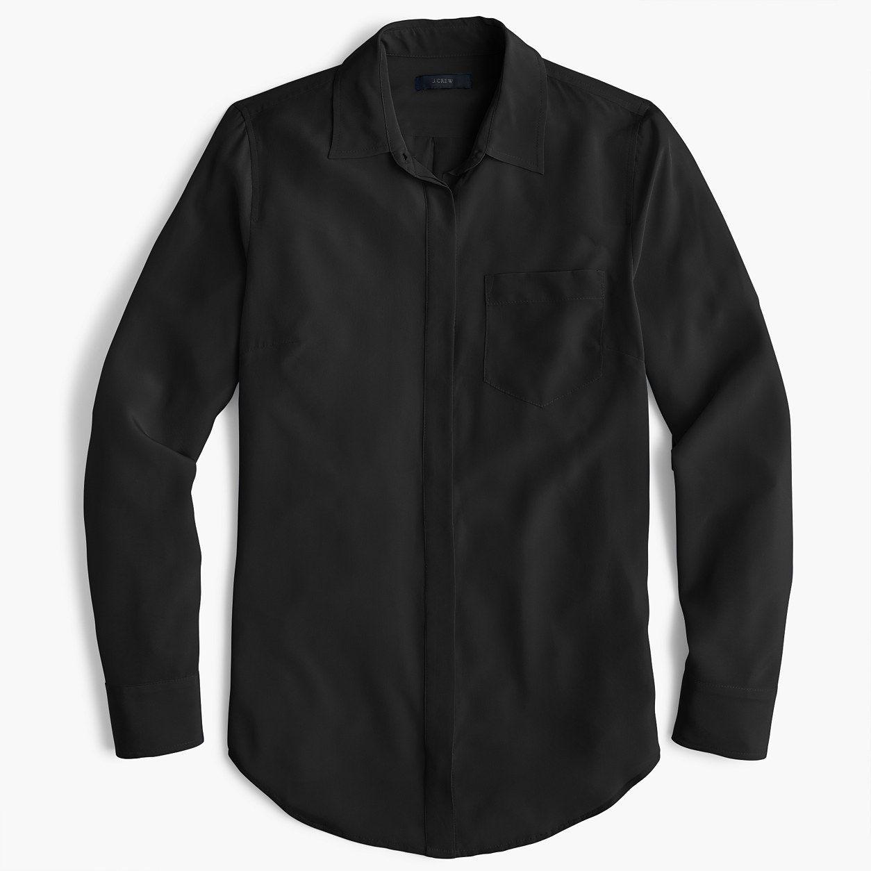 2e435c81 J.Crew Womens Petite Silk Button-Up Shirt (Size 12 Petite ...