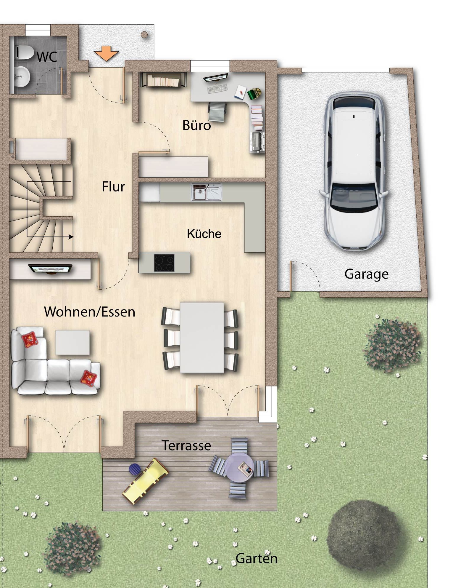 Doppelhaush lfte p lling haus pinterest for Modernes haus raumaufteilung