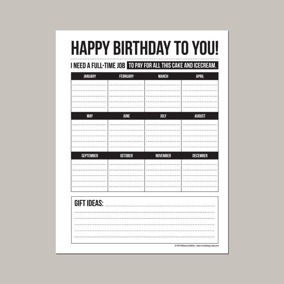 Annual Birthday Calendar printable pdf sheet Organization