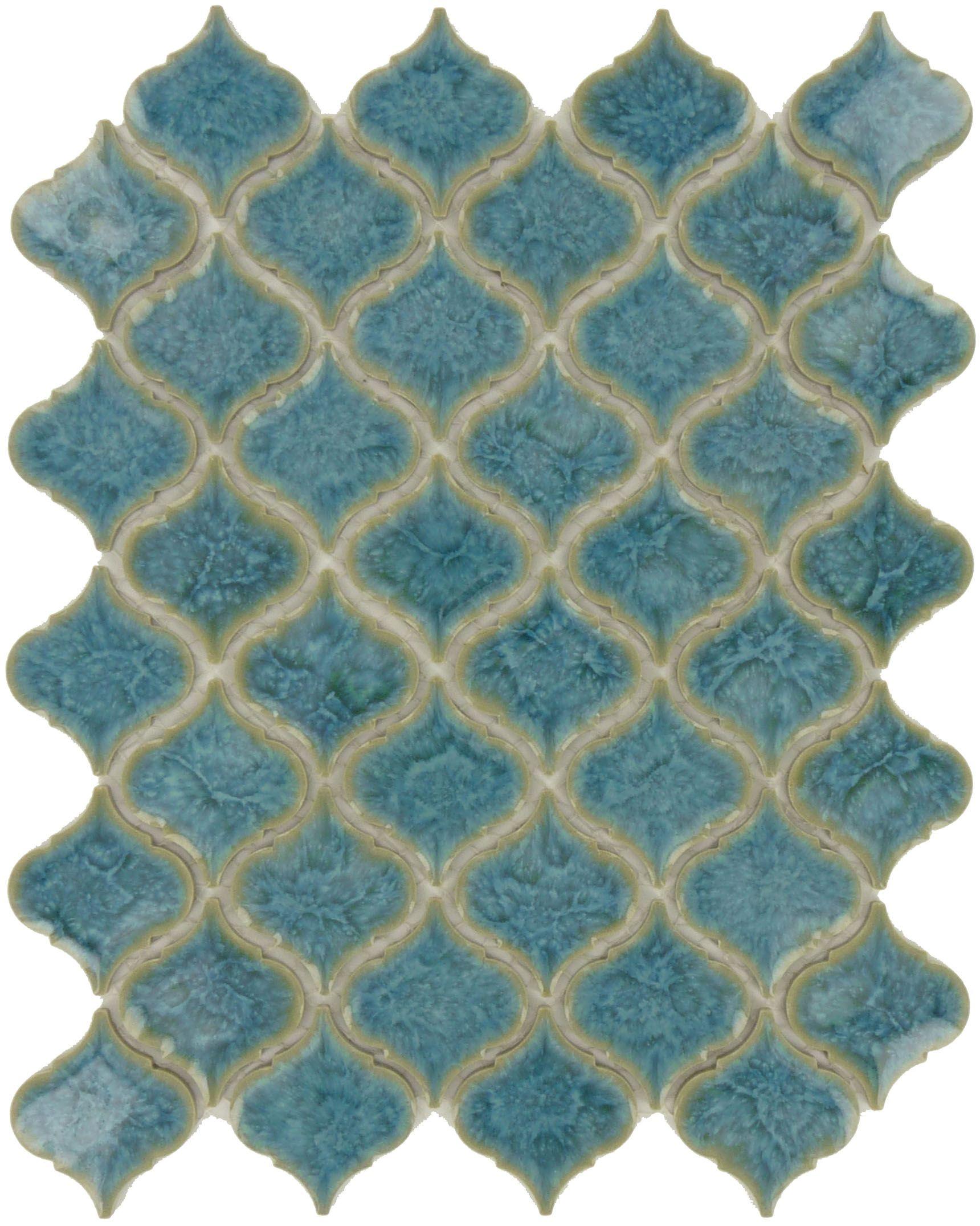 - Ice Blue Arabesque Glossy Porcelain Tile Arabesque Tile