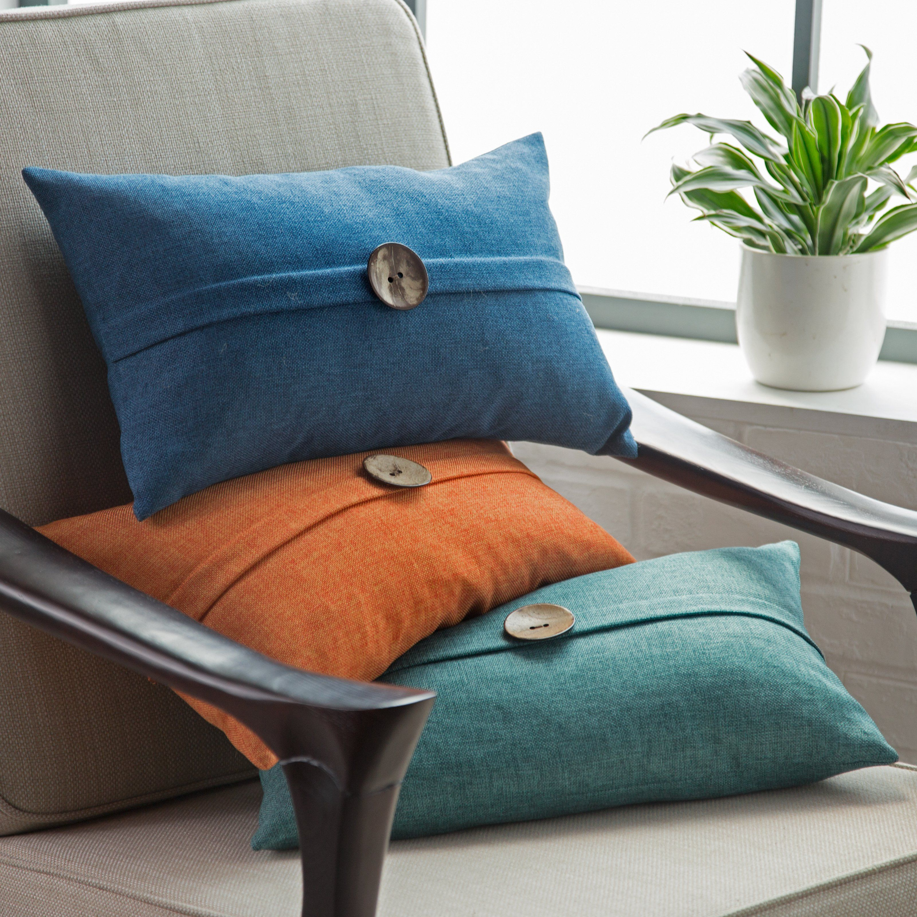 Thro By Marlo Lorenz Mackenzie Textured Weave Button Pillow | from ...
