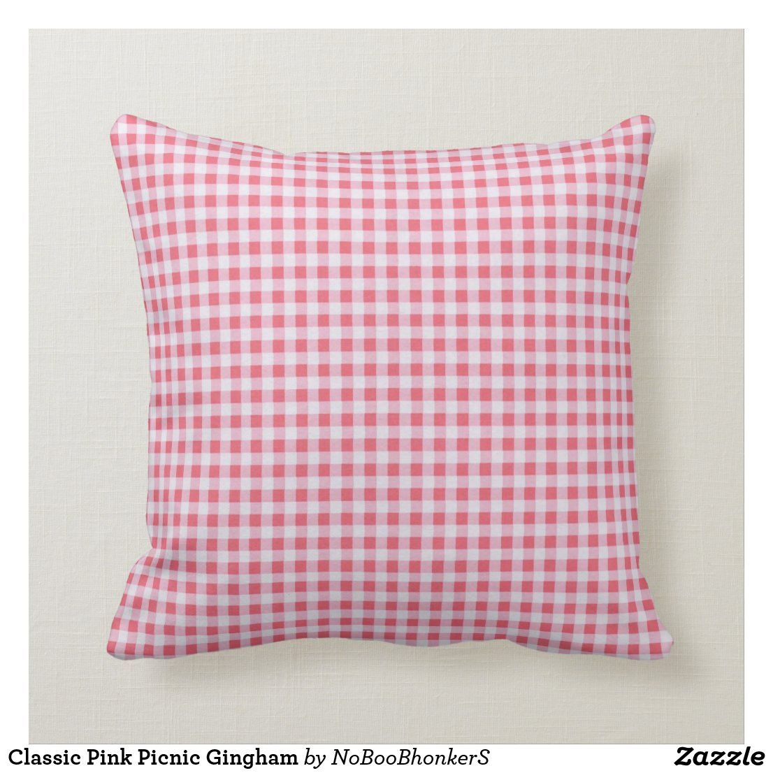 Classic Pink Picnic Gingham Throw Pillow Zazzle Com In 2021 Throw Pillows Pillows Pink Pillows Decorative