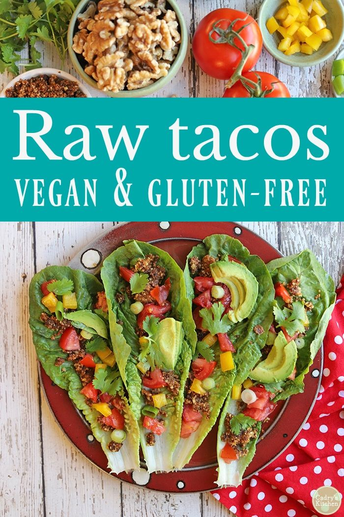 Raw tacos with walnut filling