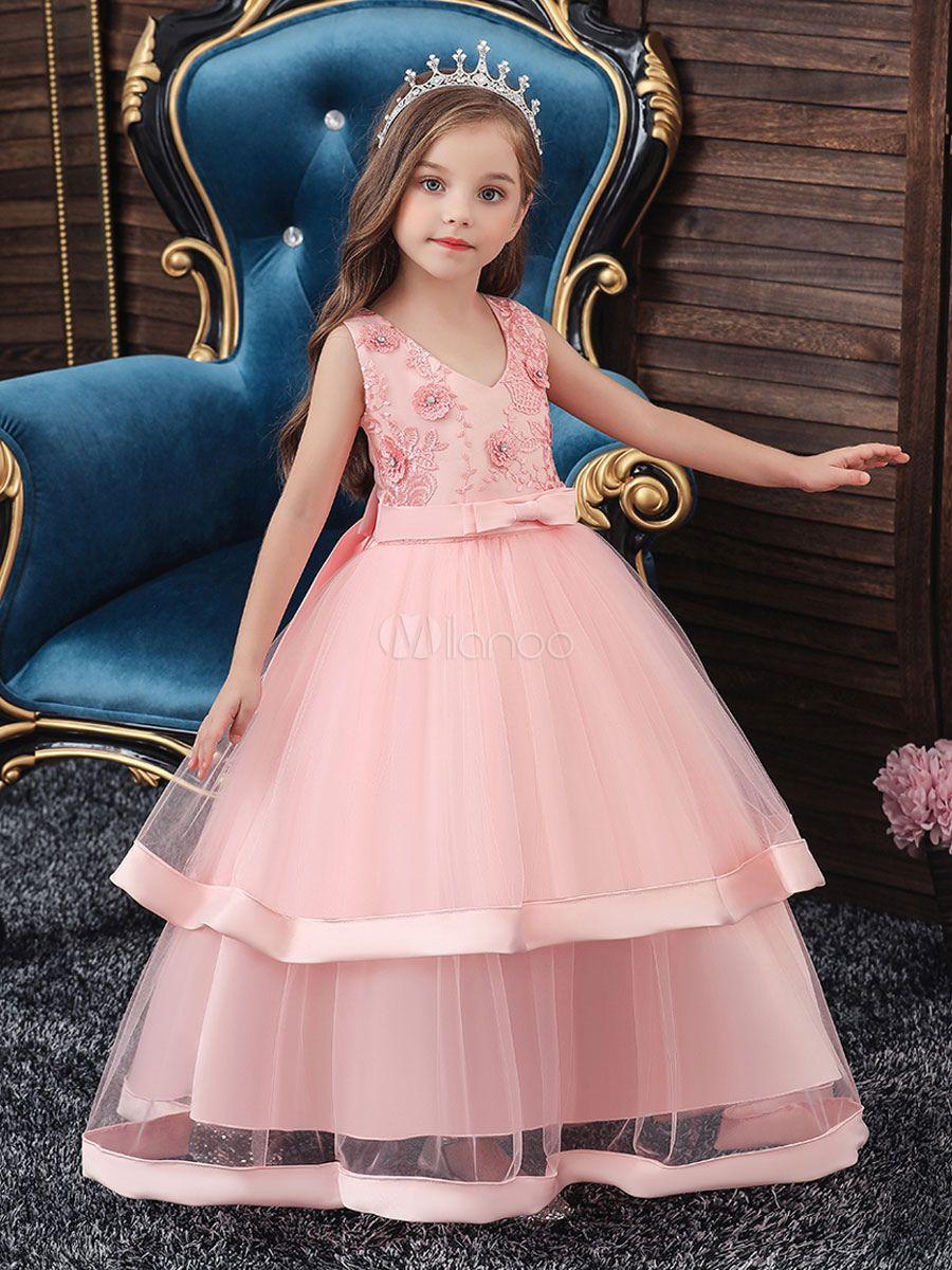 Photo of Flower Girl Dresses V Neck Polyester Cotton Sleeveless …