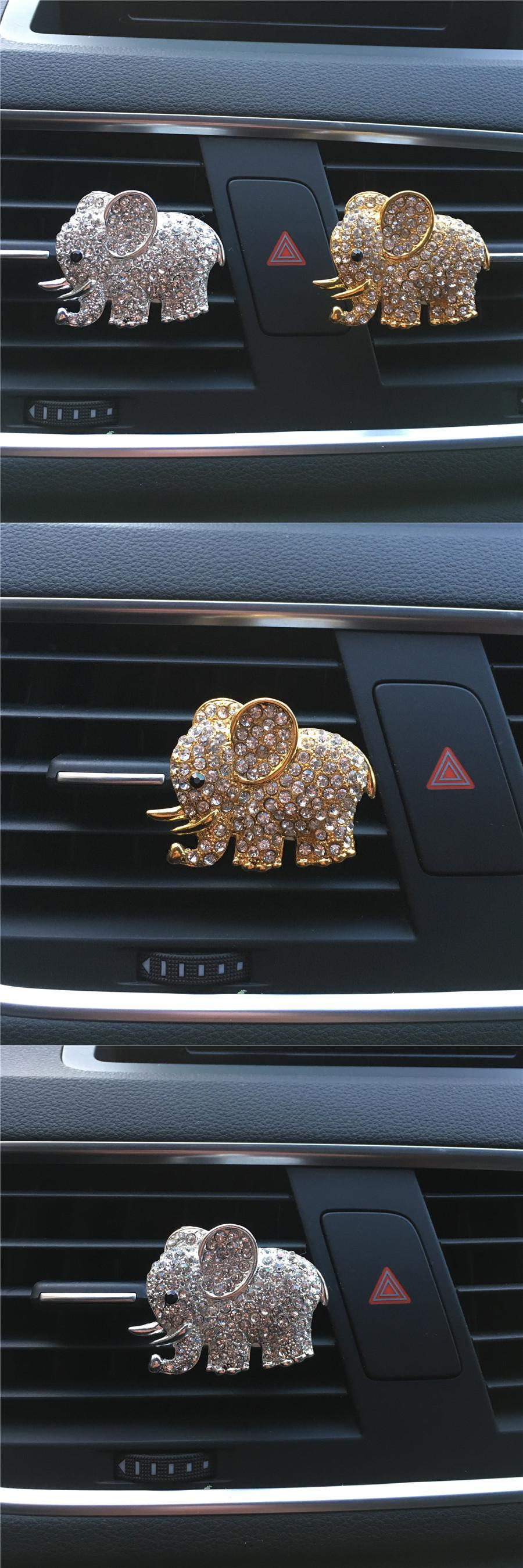 Visit To Buy High Grade Diamond Crystal Elephant Car Perfume Clip Lady Car Styling Air Outlet Accessories Ca Elephant Accessories Elephant Car Elephant Lover