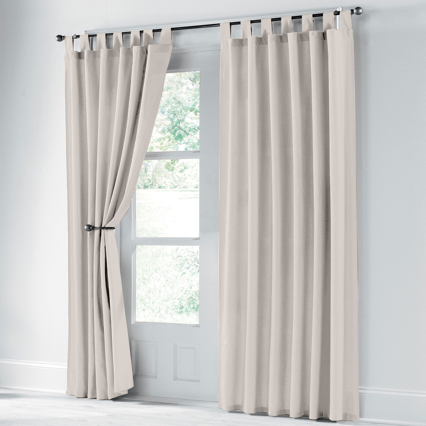 Scenario Cotton Canvas Solid Tab Top Panels Curtains Draperies Brylanehome Curtains And Draperies Indoor