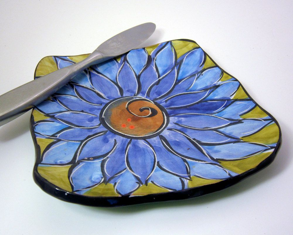 Handmade majolica pottery cheese tray slab clay cobalt turquoise handmade majolica pottery cheese tray slab clay cobalt turquoise blue lotus flower on olive green lunch izmirmasajfo Images
