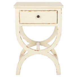 One-drawer poplar wood nightstand with a distressed vanilla finish.  Product: NightstandConstruction Material: Poplar woodColor: Distressed vanilla Features: One drawer Dimensions: 26.75 H x 18 W x 15 D