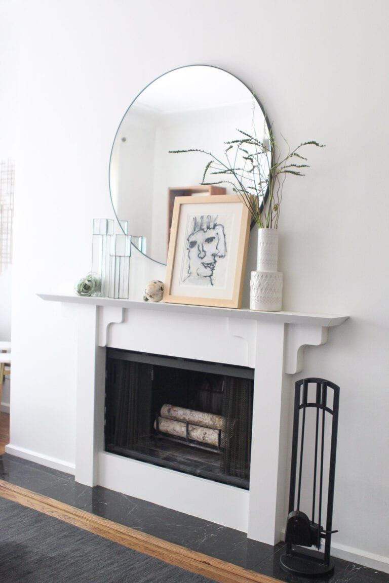 A Mid Century Modern Condo Tour In Chicago The Diy Playbook Fireplace Mantle Decor Living Room Design Decor Modern Fireplace