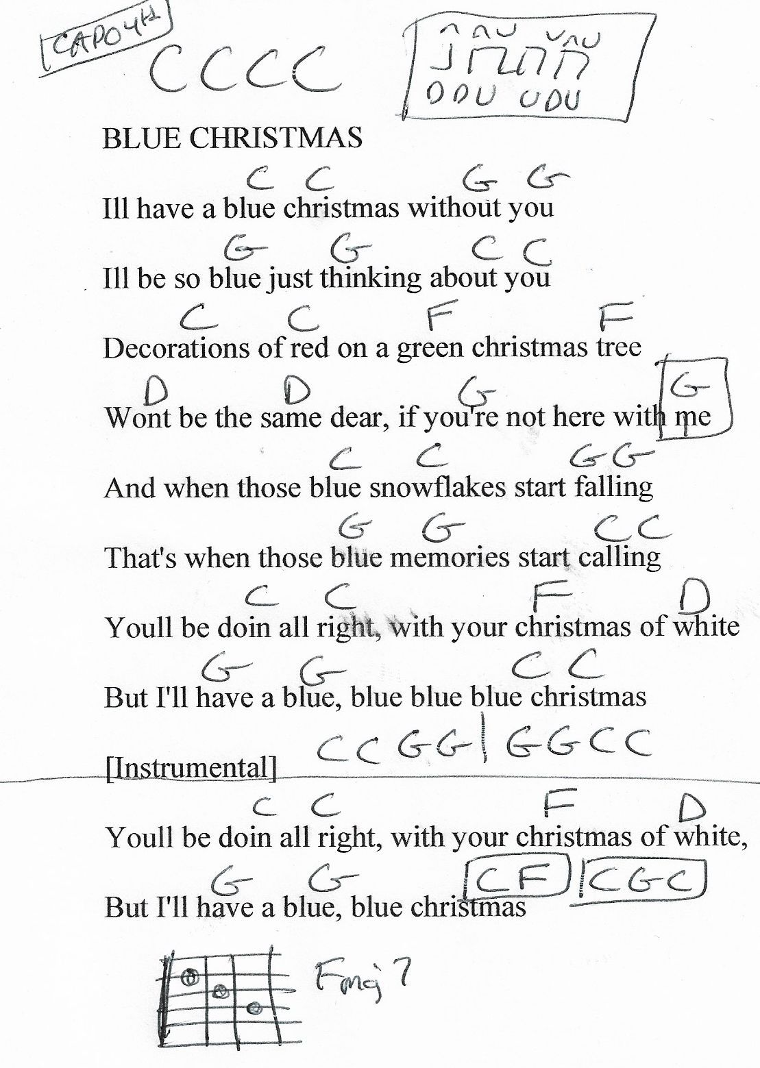 Blue Christmas (Elvis) Guitar Chord Chart (Capo 4th