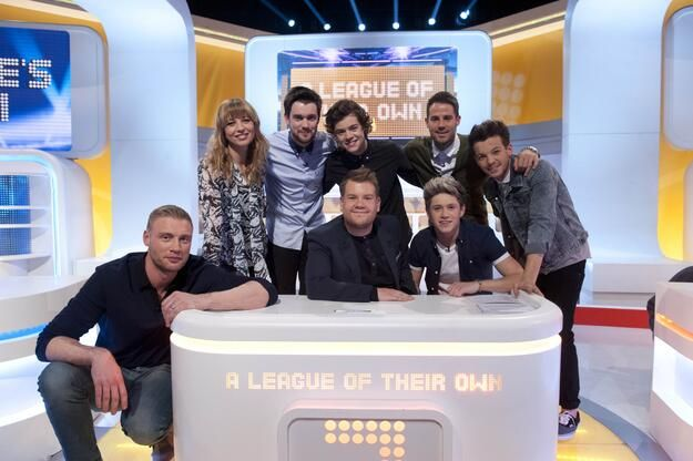 Harry, Niall and Louis on the TV show, A League of Their Own