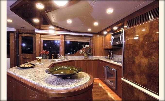 ocean alexander 74 galley custom yacht interior design destry darr