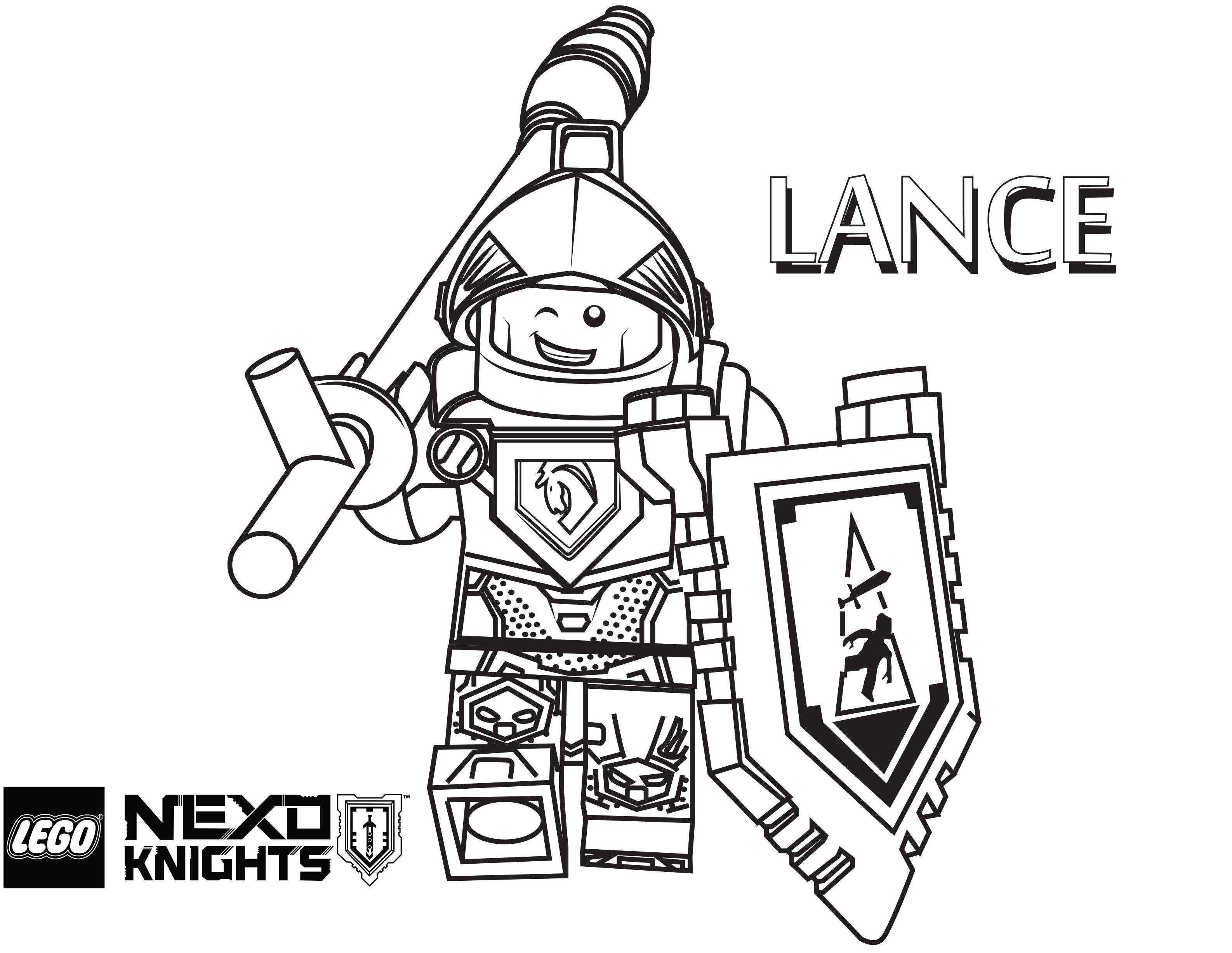 Lego Nexo Knights Coloring Page Lego Lance Printable Color Sheet