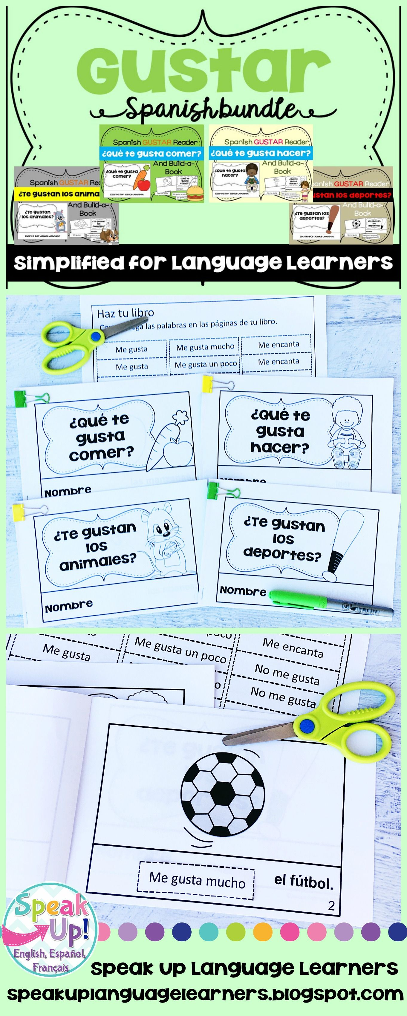 Spanish El Verbo Gustar Readers Build A Books Bundled Set Of 4 How To Speak French French Emergent Readers Teacher Resources [ 3400 x 1362 Pixel ]