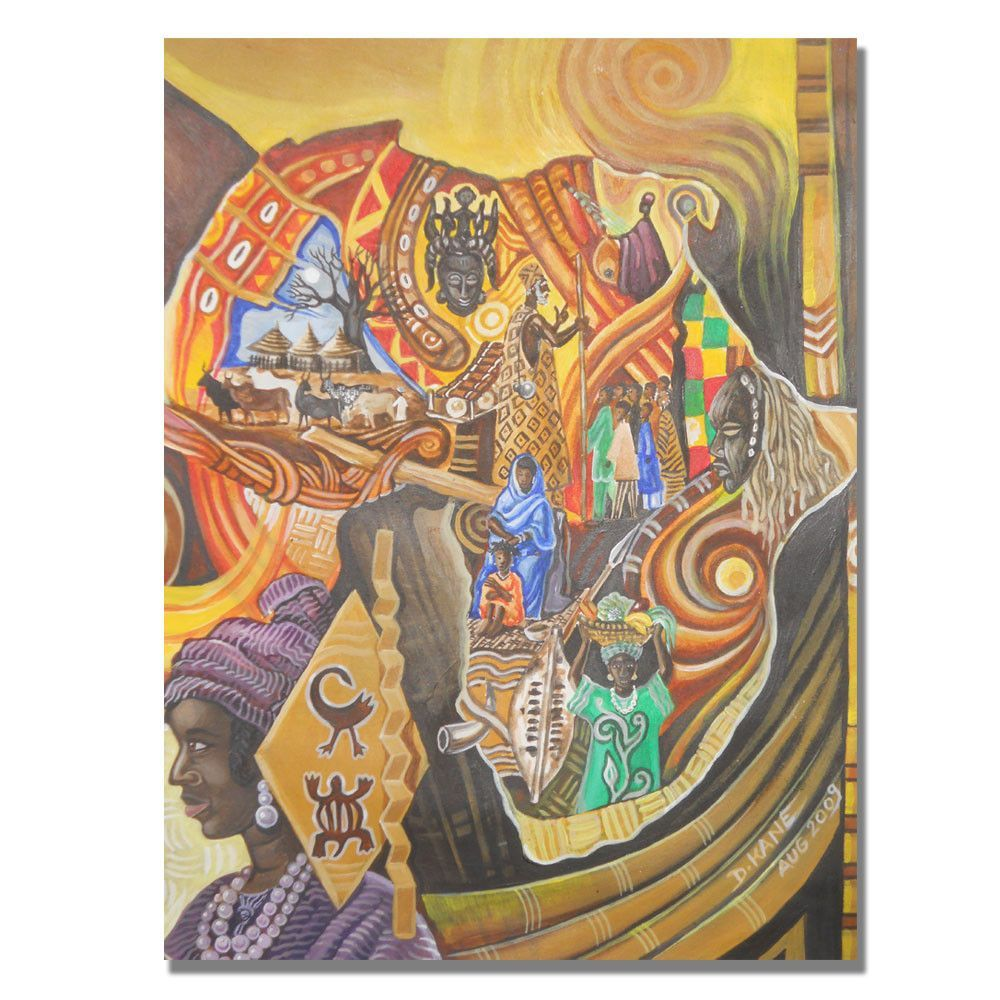 Image and Colors of Africa by Djibrirou Kane Painting Print on Canvas