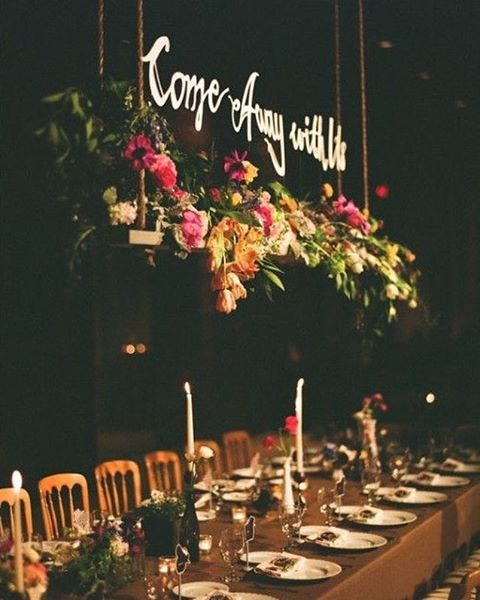 13 Lush Spring Wedding Decorations To Bring To Life Your: Come Away With Me In The Night.. Flower Chandelier Love