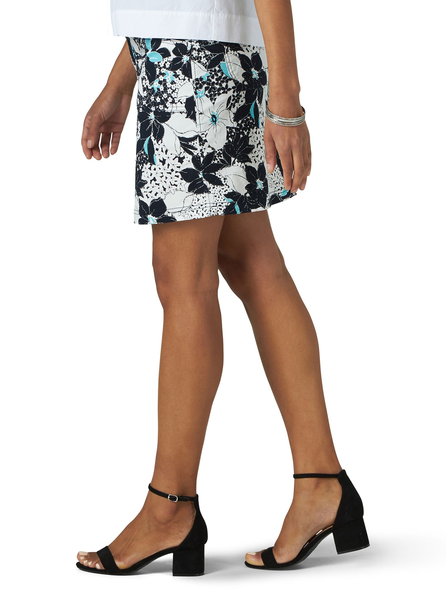 Black Mid Rise Skirt with Hidden Shorts Riders by Lee