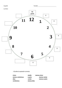 Worksheets Spanish Time Worksheet 1000 images about time on pinterest spanish pizza and telling time