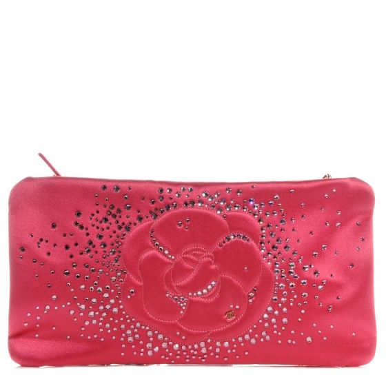 fc3e27890dbaac This is an authentic CHANEL Satin Diamante Camellia Evening Clutch Bag in  Pink NEW. This stunning evening clutch is crafted of luxurious satin  embellished ...