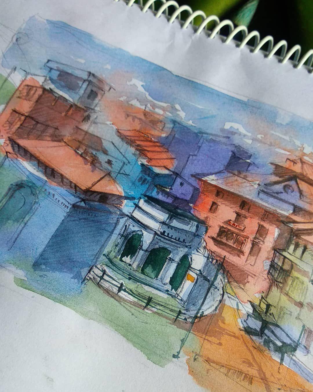 Sitalpati Golghar Tansen Palpa Nepal Watercolor On Paper
