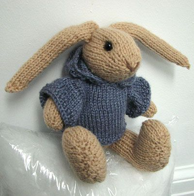 Knitting Patterns For Toy Rabbits : I tried my hand at creating this knitted rabbit using FuzzyMitten s pattern o...