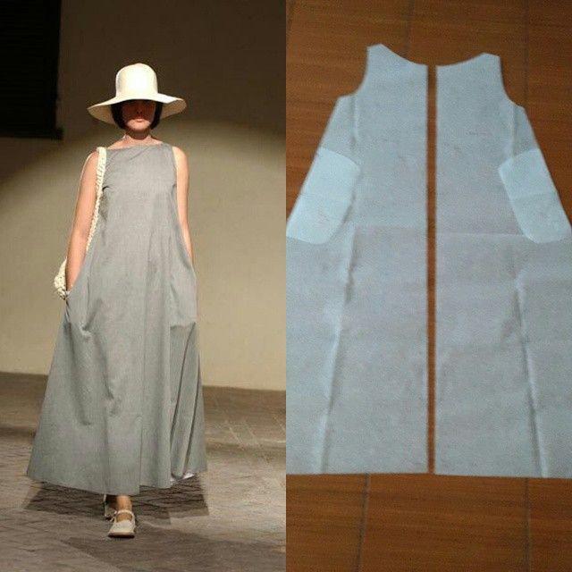 Simply sleeveless dress long pattern.