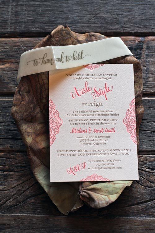 Aisle Style magazine invitation designsgirl calligraphy; design by - invitation unveiling