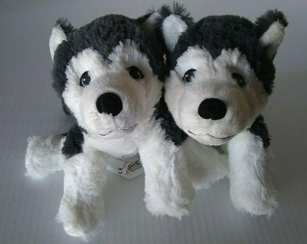 New 2 Ikea Livlig Husky Stuffed Dogs Pups Plush Small 10 Inch Ikea Soft Toy Animals Toy Puppies Plush Stuffed Animals [ 796 x 1000 Pixel ]
