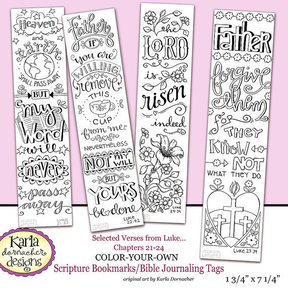 Luke 21 24 Bible Journaling Color Your Own Traceable Bookmarks Illustrated Faith Instant Download Scripture Digital Chris