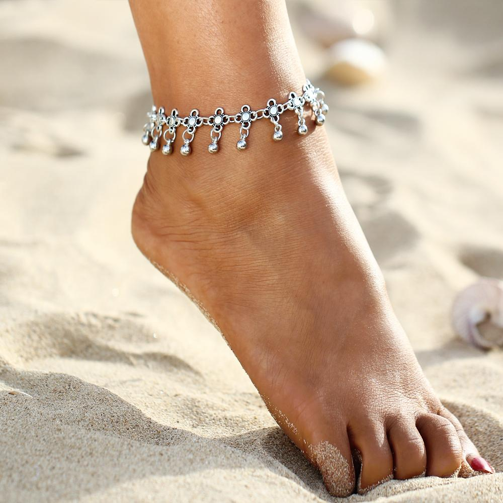 Antiqued Silver Chain Summer Beach Indian Style Anklet Ankle Bracelet Bohemian
