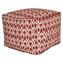 Threshold Outdoor Rectangular Pouf Footstool Red Ikat Pouf