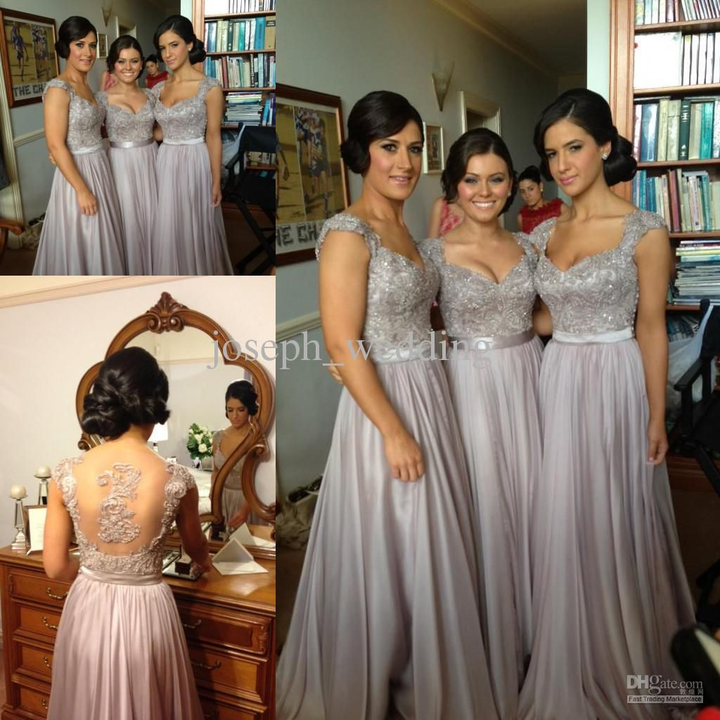 Free shippingnorma couture silver grey coral lavender orange a grey bridesmaid dresses 2016 v neck cap sleeve appliques floor length elegant chiffon party gownsbridesmaids dresseswedding party dresseswedding dresses ombrellifo Image collections