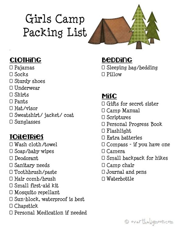 a89b5f0e7903 Girls Camp Printable Packing List and Leaders Must Haves for Camp ...
