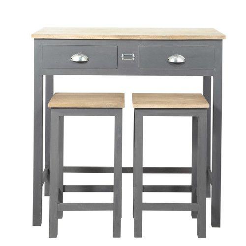Table à manger haute et 2 tabourets gris L90 Tall dining table