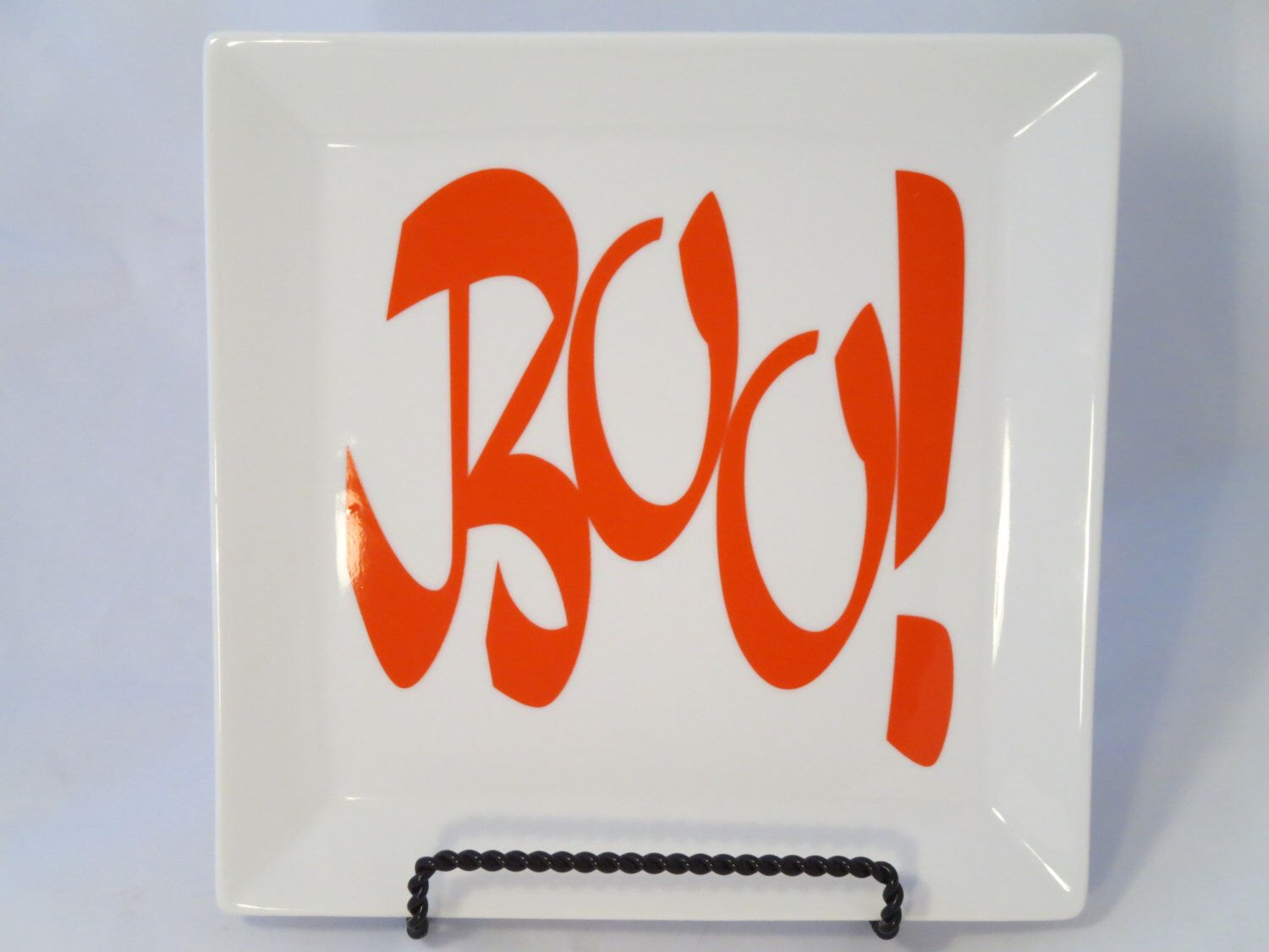 A personal favorite from my Etsy shop https://www.etsy.com/listing/196804055/boo-halloween-plate-white-boo-plate